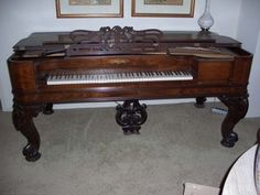 Picture of piano - 1845 Vintage Original Rosewood Chickering Square Grand Piano
