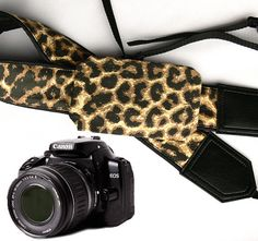 Camera strap with pocket. Jaguar camera strap. Leopard camera strap.  DSLR Camera Strap. Camera accessories. Canon Nikon Fuji camera strap.
