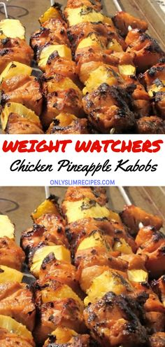 weightwatchersrecipes smartpointsrecipes weightwatchers smartpoints skinnyfood pineapple chicken healthy recipes kabobs Chicken Pineapple Kabobs You can find Ww dinner recipes and more on our website Weight Watchers Tipps, Poulet Weight Watchers, Weight Watchers Vegetarian, Weight Watchers Diet, Weight Watchers Chicken, Slimming Recipes, Skinny Recipes, Ww Recipes, Healthy Recipes
