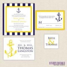 DIY Wedding Invitation Suite - Nautical Wedding Invitation, Navy Blue and Yellow Anchor via Etsy