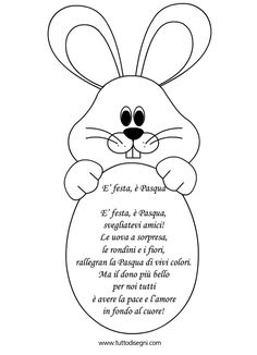 Filastrocca di Pasqua per bambini - TuttoDisegni.com Happy Easter, Easter Bunny, Easter Eggs, Easter Activities, Activities For Kids, School Board Decoration, Easter Templates, Quilted Christmas Ornaments, Animal Crafts For Kids