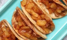 Super Easy Baked Apple Pie Tacos – delicious cinnamon sugary apple filling in a crispy and sweet taco, drizzled with caramel sauce, and then topped with whipped cream! It's the perfect way to serve apple pie to a crowd! Quick and easy recipe! Delicious Desserts, Yummy Food, Baking Recipes, Cooking Apple Recipes, Sauce Recipes, Grilling Recipes, Sweet Recipes, Southern Recipes, Love Food