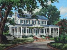 Home Plans HOMEPW26784 - 3,144 Square Feet, 4 Bedroom 4 Bathroom Cottage Home with 3 Garage Bays