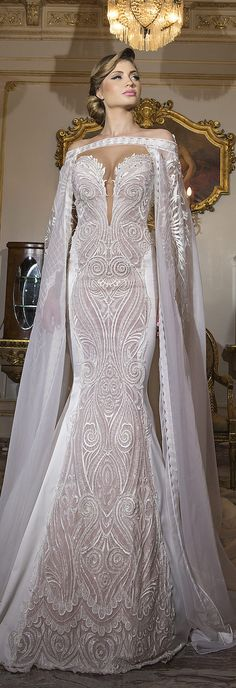 Wedding dress with cape | Shabi & Israel - Haute Couture 2016 Bridal Collection
