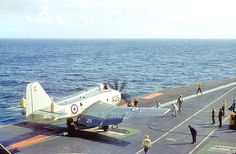 Gannet of 849 Squadron about to launch from HMS Centaur in the Red Sea in 1964 (Peter Lewis) Military Jets, Military Aircraft, Royal Navy Aircraft Carriers, Experimental Aircraft, Flight Deck, Royal Air Force, Battleship, Fighter Jets, British
