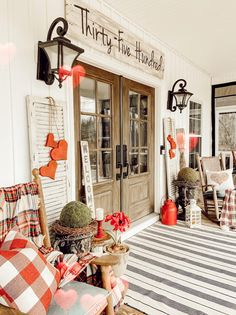 Winter Porch, Farmhouse Style, Farmhouse Decor, Country Front Porches, Vintage Shutters, Porch Decorating, Summer Decorating, Patio Decorating Ideas On A Budget, Diy On A Budget