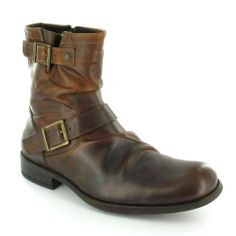 Base London Metal Mens Leather Ankle Boots - Tan Brown