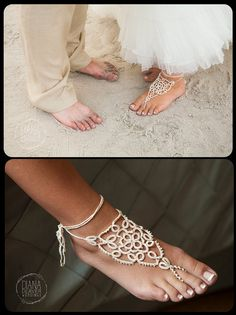 Tatted Barefoot Sandals The Bride's Feet by TotusMel on Etsy