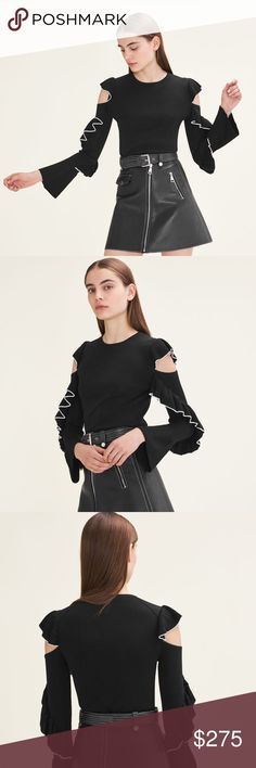 Maje 2017FW Madeline Off Shoulder Jumper Black Fine knit jumper with rounded neckline, long sleeves with flared hem and bare shoulders. Frills with contrasting trim on the sleeves. Straight cut. Main fabric : 62% Viscose , 38% Polyamide. Maje Sweaters Crew & Scoop Necks