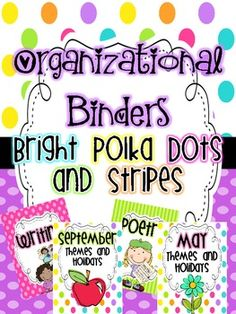 $ Awesome set! Organizational Binder Covers and Spines {Bright Dots and Stripes}