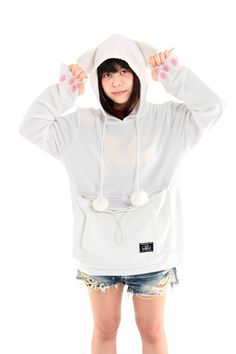 PRE-ORDER Mewgaroo Hoodie with Pet Pouch (White)