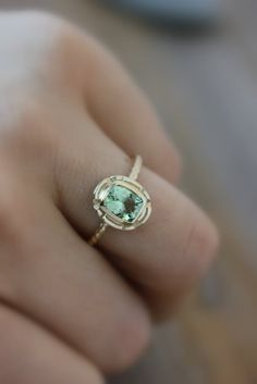 14k Gold and Green Tourmaline Gemstone Ring, Recycled Gold Ring With Cushion Cut Mint Green Tourmaline by onegarnetgirl on Etsy
