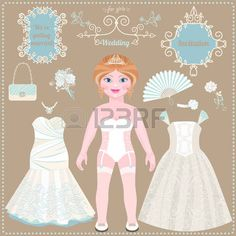 Paper doll. Wedding dresses and accessories. Ideas for wedding invitations. Lovely bride. Template for cutting.