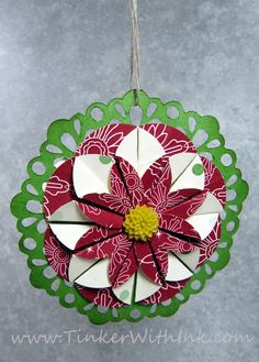 Tinker With Ink & Paper: Ornament #10: Dahlia Fold Poinsettia
