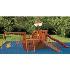 Pirate ship play ground. I want this in my back yard.