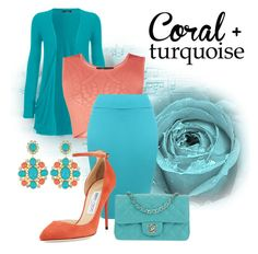 """Coral And Turquoise"" by girlie87 ❤ liked on Polyvore featuring WearAll, BCBGMAXAZRIA, Jimmy Choo and Chanel"