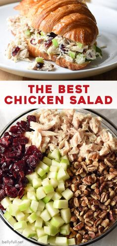 This is the best chicken salad recipe! With chicken, cranberries, apples, and pecans, it's so easy to make and absolutely delicious. Wonderful on its own or as a sandwich! de ensalada de pollo facil y saludable Best Chicken Salad Recipe, Salad Chicken, Chicken Salad Recipe With Cranberries And Apples, Apple Chicken Salads, Apple Pecan Salad Recipe, Chicken Salaf, Chicken Salad Healthy, Chicken Salad Sandwiches, Cranberry Walnut Chicken Salad