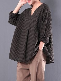Only US$19.99 , shop S-5XL Retro Plaid Loose Casual Blouses at Banggood.com. Buy fashion Blouses online.
