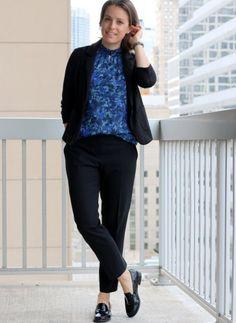 Black Pants + Blue Floral Tank + Black Blazer