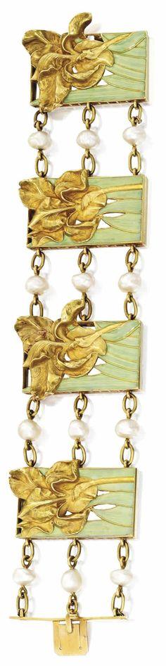 """R.Lalique 1900 'Iris Et Feuilles De Vert' Brace-let: 7"""" long w/gold irises set against mint green enamel leaves w/gold & pearl connectors"""