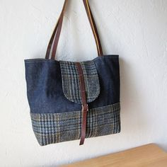 Denim and wool tote