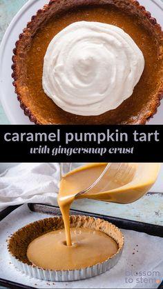 Caramel Pumpkin Tart with a Gingersnap Crust. A tart with a rich mascarpone caramel mixed with generously spiced pumpkin custard in a cookie crust. #pumpkinpie #tarts #thanksgiving #caramel #pumpkindesserts