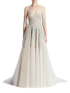 Reem Acra - Embroidered Tulle Gown