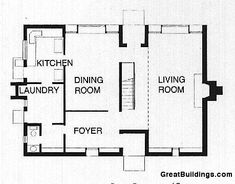 An architectural drawing of Esherick House in the Great Buildings Online. Esherick House, Unique Floor Plans, Louis Kahn, Building Drawing, Kitchen Dining Living, Laundry Room, House Plans, Images, Flooring