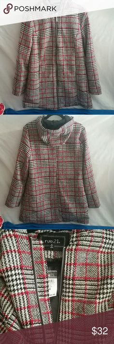 Nwt coat size Medium New with tags from Rue 21. Size Medium Bought during christmas. Paid 45.00. Red and black was our family pic colors. Dont live close neough to return and now its too late. My loss your gain. Pet free and smoke free home.  I usually accept most decent offers.  Like something, make me an offer.  I love to bundle. Rue21 Jackets & Coats