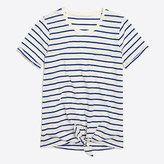 Striped tie-waist pocket T-shirt