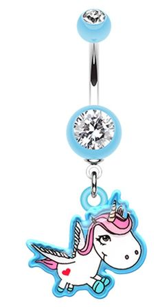 Adorable Unicorn Belly Button Ring - 14 GA (1.6mm) - Light Blue - Sold Individually