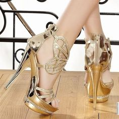 These red black silver gold prom high heels are very delicate with different…