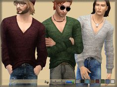 Melange sweater for men of all ages from teenagers to the elderly. Installed automatically, a new mesh. 8 variants of staining. Found in TSR Category 'Sims 4 Male Everyday'