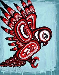 Native owl Painting Art Print native american by Inuit Kunst, Arte Inuit, Arte Haida, Haida Art, Inuit Art, Arte Tribal, Tribal Art, Totem Pole Art, Kunst Der Aborigines