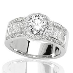 white gold 2 carat solitare with diamond paved band | Carat Halo Style Diamond With Pave Engagement Ring with a 1.2 Carat ...