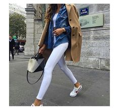 White jeans - beige coat - jeans shirt - sneakers