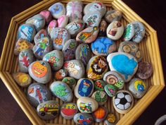 Story Stones. Creating the story stones would be a fun art project for the kids. Use these for creative writing to get the ball rolling. They'd be cute in a basket on a table or shelf too!
