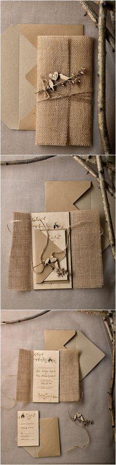 Eco Burlap Rustic Country Laser cut Wood Wedding Invitation Suite                                                                                                                                                     More