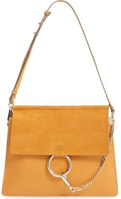 Chloé 'Medium Faye' Leather & Suede Shoulder Bag