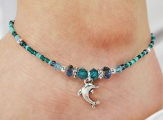 Anklet, Ankle Bracelet, Dolphin Charm, Teal Blue Green, Swarovski Crystal, Czech Glass, Beaded, Beach, Ocean, Waves, Sea, Boho, Vacation