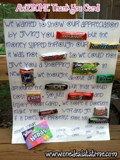 HOMEMADE GIFT, THANK YOU CARD, CANDY CARD