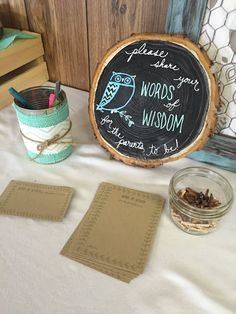 Chalk Sign Hand Lettering Woodland Owl Wood Slab Round Baby Shower PNW Events Sweet & Petite Party Designs: July 2016