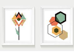 Scandinavian geometric modern cross stitch pattern, set of 2, abstract, flower, home decor, floral, embroidery, nursery, instant pdf, diy