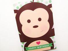 Cute Monkey  Happy Birthday  Heart  5x7 Greeting Card by blushface, $4.00