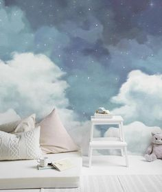 fantastic starry sky wallpaper removable clouds wall mural for home hallway bedroom nursery kids wal fantastische sternenhimmel tapete abnehmbare wolken … Wall Murals Bedroom, Bedroom Decor, Wall Decor, Cloud Bedroom, Nursery Wall Murals, Sky Nursery, Wall Paper Bedroom, Kids Wall Murals, Murals For Kids