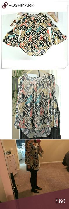"🍉 Blue Pepper loose fitting blouse. NWOT 🍀 🌟Sheer blouse with aztec abstract tribal print. Colors - black, pink, teal, mustard, taupe. Elastic threads in the middle of the sleeves make bell sleeves.  🌟Details: length 28"" in the back, front 24"", 100% polyester.  🌟Please use only ✔OFFER 👈 button for all price negotiations. I'll do 👉🍓a price drop⤵ for you for discounted shipping, if we agree about the price Anthropologie Tops Blouses"