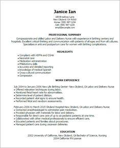 L&D Nurse Resume Example   im a nurse   Pinterest   D, Labor and ...
