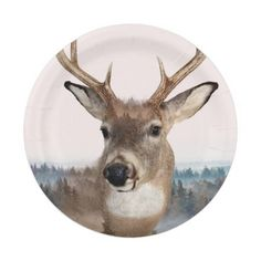 Whitetail Deer Double Exposure Paper Plates 7 Inch Paper Plate