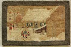 Antique Grenfell Labrador Style Hooked Rug Mat Winter Farmyard Scene | eBay