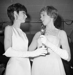 Audrey Hepburn and Julie Andrews at the Oscars